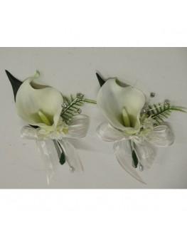 Latex white calla lily diamante pin corsage