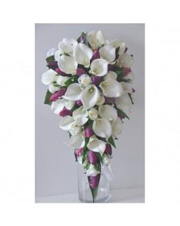 Latex calla lily purple tulip silk cream rose teardrop