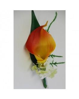 Latex orange calla lily button hole