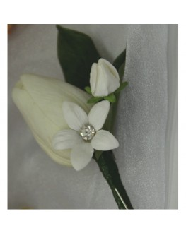 Groom White latex tulip button hole