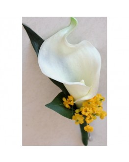 White latex calla lily yellow gyp button hole
