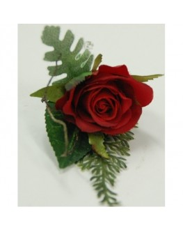 Groom button hole silk red rose greenery