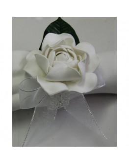 Latex white gardenia wrist corsage