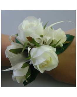 Silk white cream rose roses wrist corsage