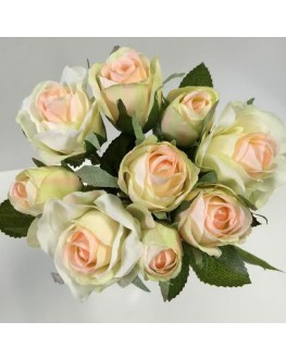 Peach pink soft lime green rose pre made posy open roses buds 9 heads