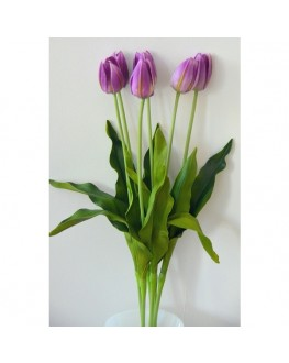 1X LATEX PURPLE TULIP WEDDING FLOWER STEM