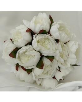 silk white peony peonie pre made bouquet posy 12 x flowers