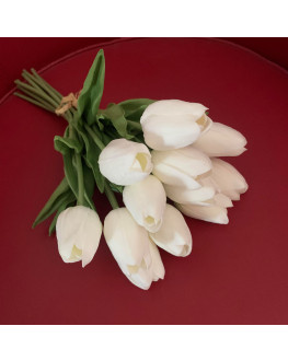 Latex Real Touch Tulip Tulips Bud bouquet Bunch x 12 heads White