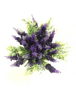 Silk rustic bouquet deep purple silk lavender dusty green boxwood posy