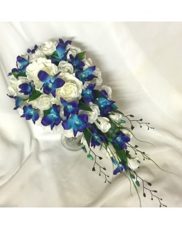 Silk Blue Singapore Orchid & Silk White Rose Wedding Bouquet Teardrop