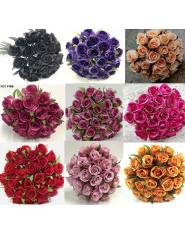 Silk Rose Roses Posy Bouquet 26 heads - Orange Pink Red Cream Black Burgundy Purple Beige
