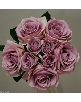Silk Lilac Blue Moon Rose Bouquet 9 Head