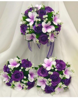Latex Frangipani Purple & Purple Rose with White Gyp Wedding Bouquet Set