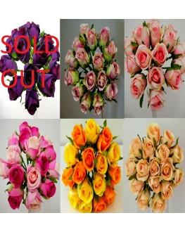 Silk Rose Posy Bouquet 16 heads Orange Yellow Pink Purple Lilac Beige