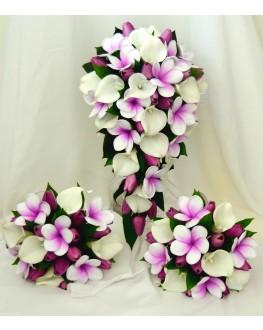 Latex Call Lily White & Frangipani Tulip Wedding Bouquet Set