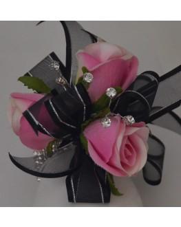 Silk Pink Rose Roses Black Ribbon Diamante Wrist Corsage