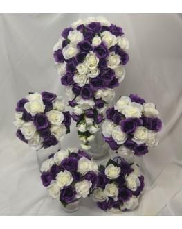 Bouquet Set Purple & White Rose Wedding Set
