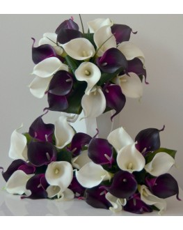 Latex Lily White & Purple Eggplant Calla Lily Wedding Package