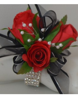 Silk Red Rose Roses Black Ribbon Diamante Wrist Corsage