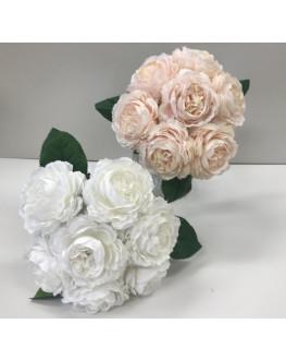 silk  peony peonie pre made bouquet posy 7 x flowers White Pink