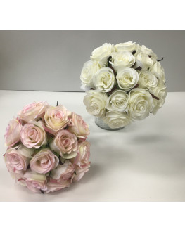 Silk rose posy pre made bouquet white pink 15 head flowers