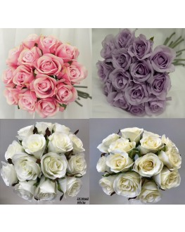 Silk Rose Posy Bouquet 14 heads Pink Ivory