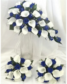 Latex Calla Lily White & Silk Blue Rose Bouquet Set