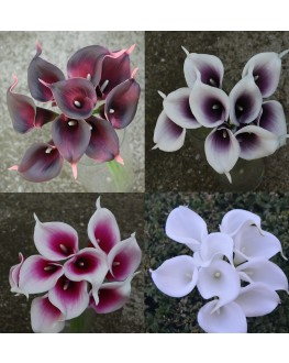 Latex Real Touch Calla lily Bunch x 9 heads White Purple Burgundy