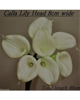 LARGE FLOWER HEAD LATEX WHITE CREAM CALLA LILY POSY 7 HEAD