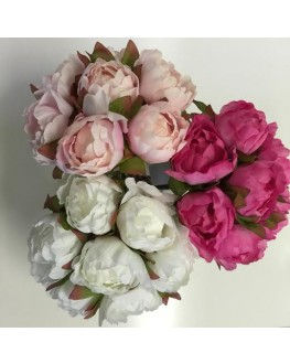 Silk Peony Peonies Bouquet Bud Pre Made white soft pink hot pink 7 heads