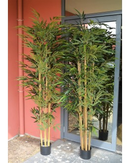 1x 7FT Artificial Green Leaf Natural Bamboo Tree 210cm high
