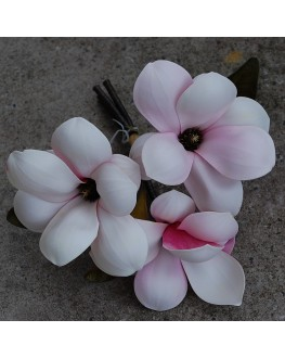 FOAM PRE MADE SHABBY SILK FLOWER PINK CREAM MAGNOLIA FLOWERS BUNCH