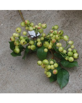 Artificial Wedding Flocked Two Tone Green Berry Berries Stem 60cm