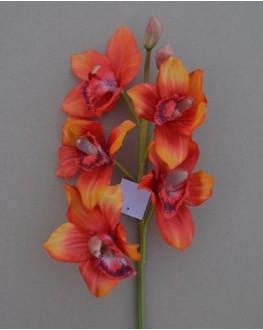 Latex Orange Cymbidium Orchid 5 head
