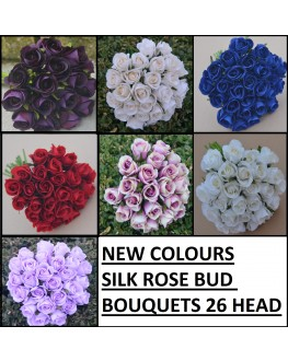Silk Rose Roses Posy Bouquet 26 heads - Navy Blue Red White Ivory Purple Lavender