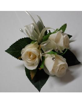 Silk Ivory Rose Pin Corsage Diamante