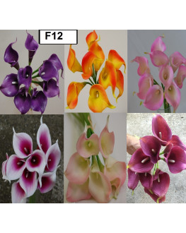 Latex Real Touch Calla lily Bunch x 9 heads Orange Yellow Pink Purple Light Pink