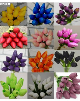 Latex Real Touch Tulip Tulips Bud bouquet Bunch x 12 heads - Blue Red Orange White Yellow Pink Purple Black Green
