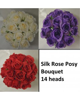 Silk Rose Posy Bouquet 14 heads