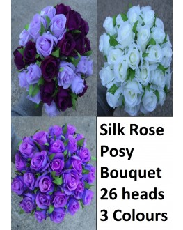 Silk Rose Roses Posy Bouquet 26 heads - White Purple Lavender