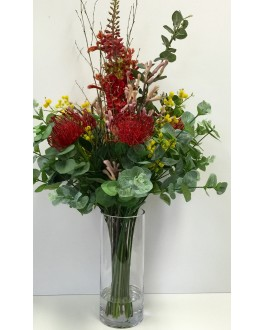 New Faux Artificial Water Flower Arrangement Red Yellow Green Wattle Protea Gum
