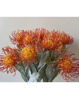 ARTIFICIAL SILK FAKE FLOWER AUSTRALIAN NATIVE ORANGE LEUCOSPERMUM FLOWERS STEM STEM 65CM HIGH