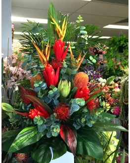 Latex Native Green Red Heliconia GumSpray Silk Artificial Floral Arrangement