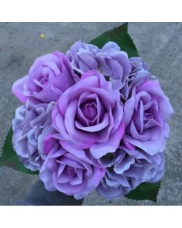 Mauve Purple Hydrangea Rose Bouquet