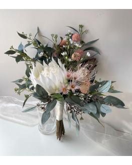 Australian native flowers king protea gum blossom blush Billy button eucalyptus rustic wedding bouquet