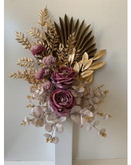 DRIED FLOWER ARRANGEMENT AUSTRALIAN NATIVE FLOWER BOUQUET FAN PALM GOLD STEMS PINK ROSE GUM EUCALYPTUS ARRANGEMENT