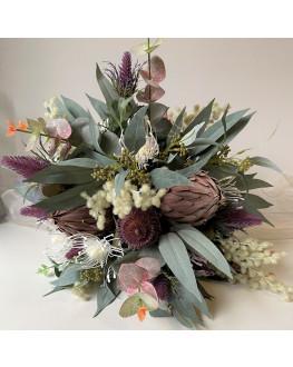 Australian native flower wedding bouquet burgundy brown eucalyptus wattle weddings bouquets
