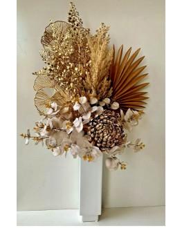 ARTIFICIAL FLOWER DRIED FLOWERS PAMPAS GRASS PALM FAN LEAF GOLD CHRYSANTHEMUM STEM GUM EUCALYPTUS ARRANGEMENT