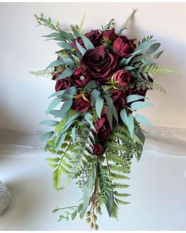 Rustic wedding cascading Teardrop bouquet burgundy roses peonies eucalyptus