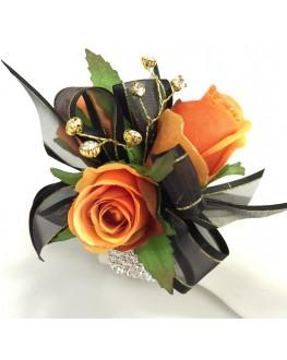 Silk Orange Rose Roses Black Ribbon Diamante Wrist Corsage